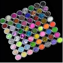 72 botellas/juego de uñas acrílicas conjunto de brillo polvo pigmento ultrafino con lentejuelas polvo manicura Nail Art purpurina, envío gratis