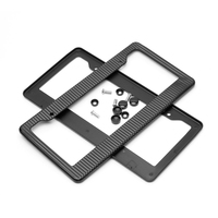 2pcs Front Rear Carbon Fiber USA/Canada License Plate Frame Tag Cover Holder for Auto Truck Vehicles High Quality