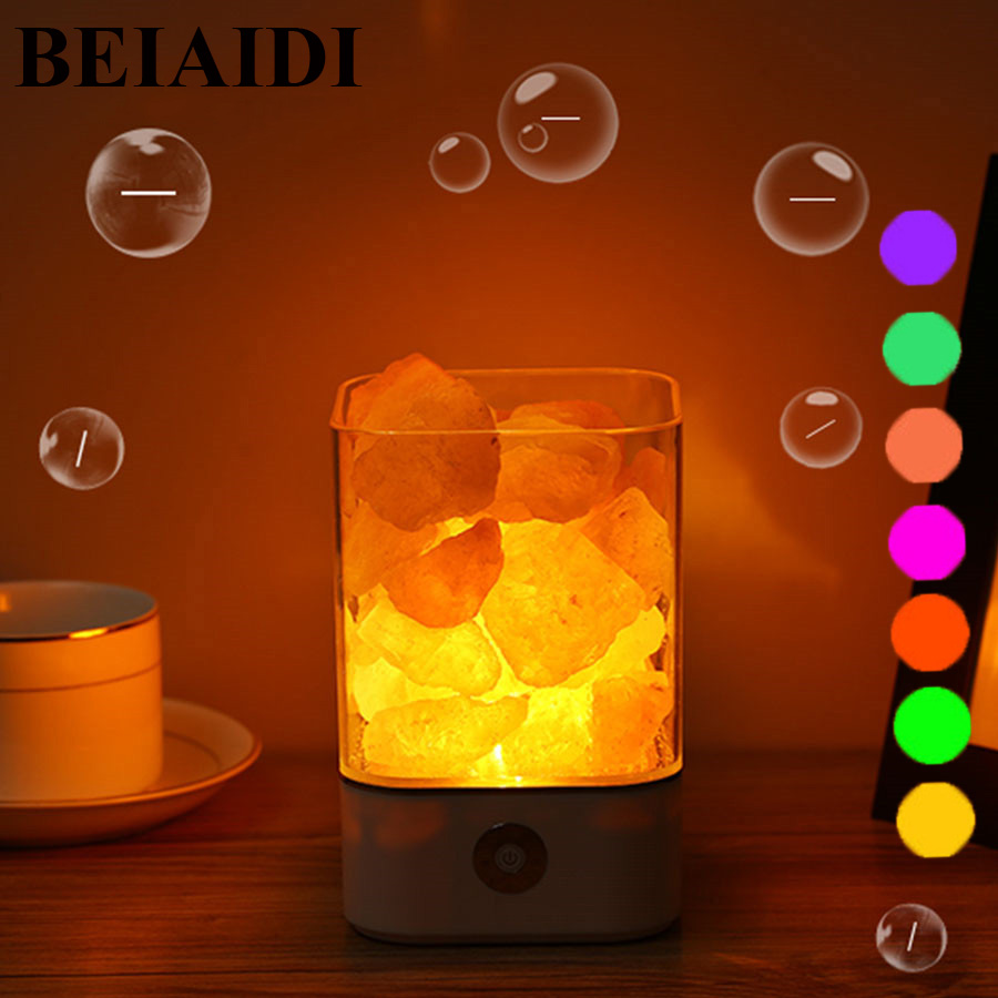BEIAIDI USB Salt LED Night Light Himalayan Crystal Rock Salt Lamp 7Color  Air Purifier Night Light