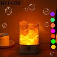 BEIAIDI USB Salt LED Night Light Himalayan Crystal Rock Salt Lamp 7Color Air Purifier Night Light