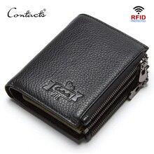 CONTACTSของแท้หนังผู้ชายกระเป๋าสตางค์RFID Double Zipperสั้นWalet Cartera Hombreชายกระเป๋าสตางค์Portfel Manกระเป๋ากระเป๋าเหรียญ