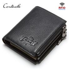 CONTACTS אמיתי עור גברים של ארנק RFID כפול רוכסן קצר walet cartera hombre זכר ארנקים portfel איש ארנק מטבע כיס