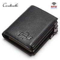 CONTACT'S genuine leather men's wallet RFID double zipper short walet cartera hombre male wallets portfel man purse coin pocket