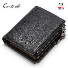 CONTACTS genuine leather mens wallet RFID double zipper short walet cartera hombre male wallets portfel man purse coin pocket