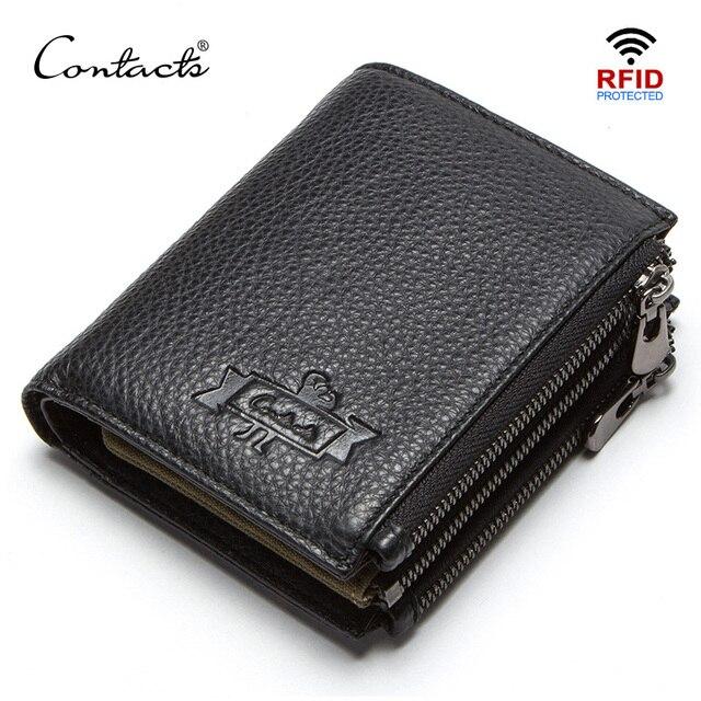 연락처 정품 가죽 남성용 지갑 RFID 더블 지퍼 짧은 walet cartera hombre 남성용 지갑 portfel man 지갑 동전 주머니