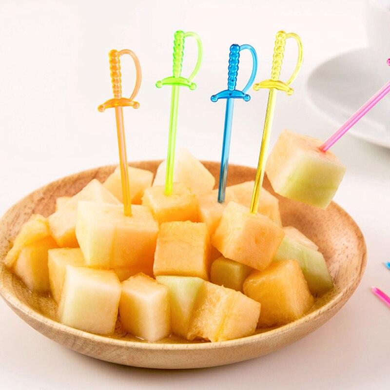 100PCS/Pack Transparent Plastic Sword Shape Fruits Fork ...