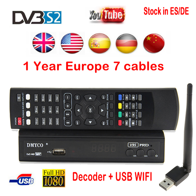 US $43 59 30% OFF|1 Year Free Europe C code HD Digital TV Satellite Decoder  V9S PRO HD DVB S2 Support code powervu Youtube+USB wifi-in Satellite TV