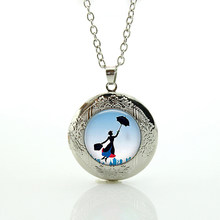 Vintage Mary Poppins Jewelry Colar Perfume Women Victorian lady Long Chain Necklace cartoon Sailor Moon locket pendant gift N770(China)