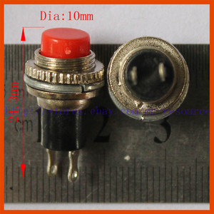 New 1x 10mm Momentary N O Off on 3V 6V 9V 12V Red Cap Push Switch RS316