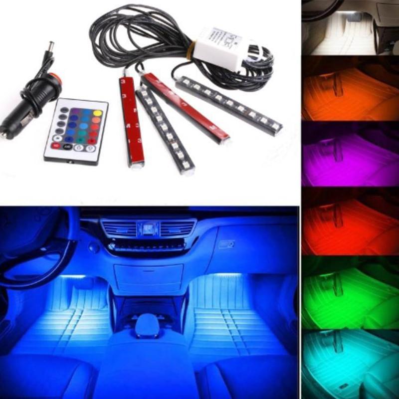 LISCN 4pcs Car RGB LED Strip Light LED Strip Lights Colors Car Styling Decorative Atmosphere Lamps