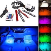 LISCN 4 шт. автомобильные RGB Светодиодные полосы света светодиодные полосы света цвета декоративный дизайн автомобиля атмосферу лампы салона автомобиля свет с пультом
