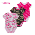 2016 Baby Girls Cotton Flower Printed Short Sleeve Bodysuits Infant Clothing Jumpsuit Body Baby Girl Bodysuits New Summer Style