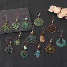 Brincos étnicos de folha verde de cobre, brincos boho oco, joias para mulheres, presentes de festa, atacado
