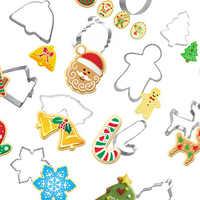 14 unids/set cortadores de galletas de acero inoxidable de Navidad casa de jengibre Hombre árbol de Navidad hornear torta galleta Fondant molde