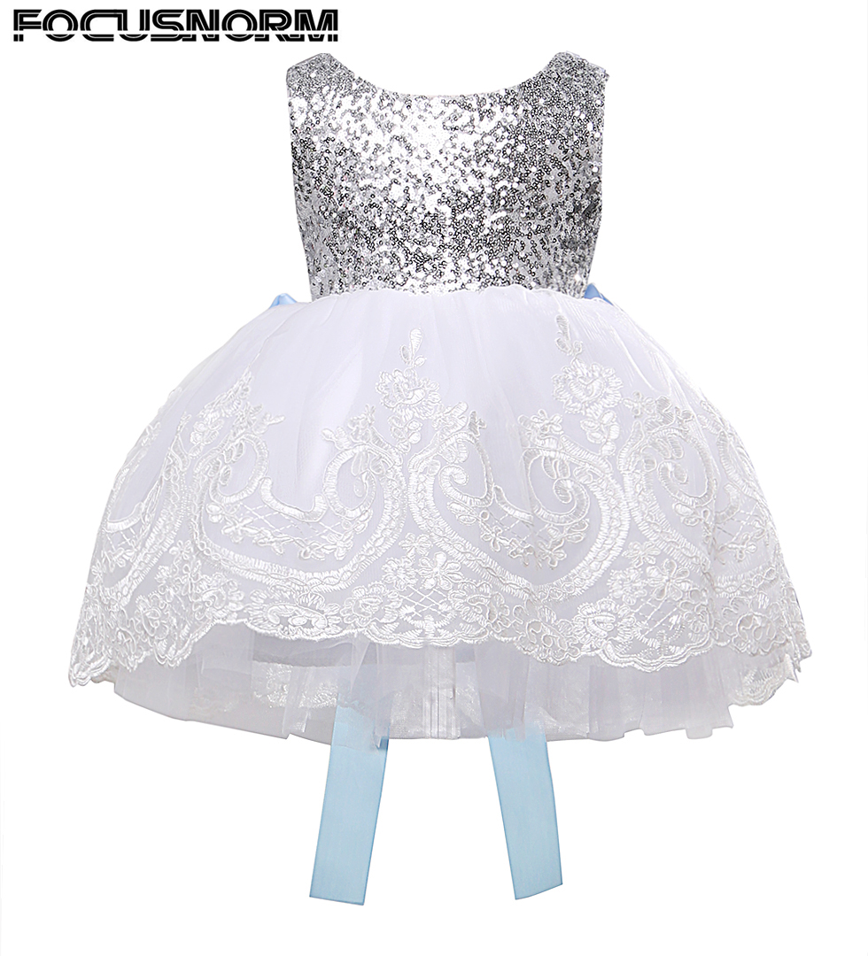 Christmas Baby Kids Girls Sequins Backless Big Bow Lace Floral Embroidered Tulle Tutu Dress Princess Party Dresses 2016 new cute baby girls dress kids princess party denim tulle bow belt tutu dresses 3 8y