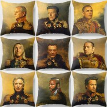 Neoclasstical Bill Murray David Bowie Dave Grohl Downey Cushion Covers Beige Linen Pillow Cases 45X45cm Sofa Decor Drop Shipping(China)