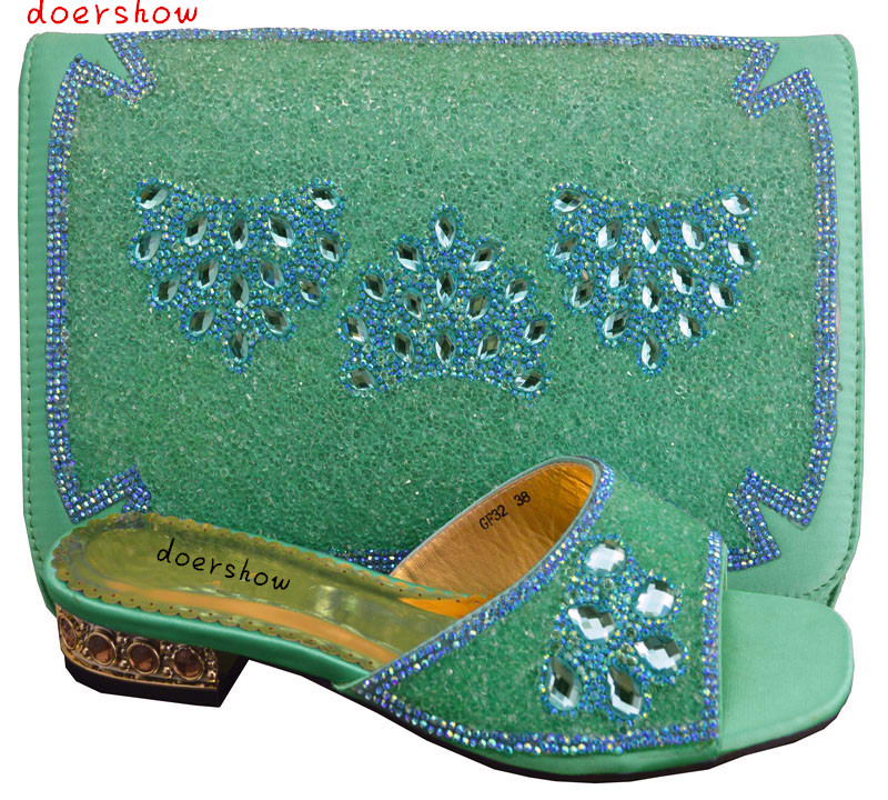 green doershow beautiful African shoes and matching bags with rhinestones High class ladies shoes and bags