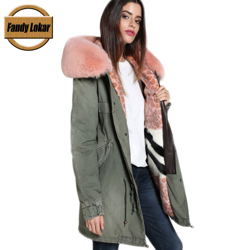 New Long Warm Real Fox Fur Collar Coat Women Winter Real Mink Fur Liner Hooded Jacket Women Fur Parka Female Ladies FP9124 printed long raccoon fur collar coat women winter real rabbit fur liner hooded jacket women bomber parka female ladies fp896