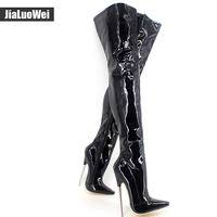 6 1 4 Trend Women Winter Boots High Heels Patent Leather Boots Female Heel Plain Stretch