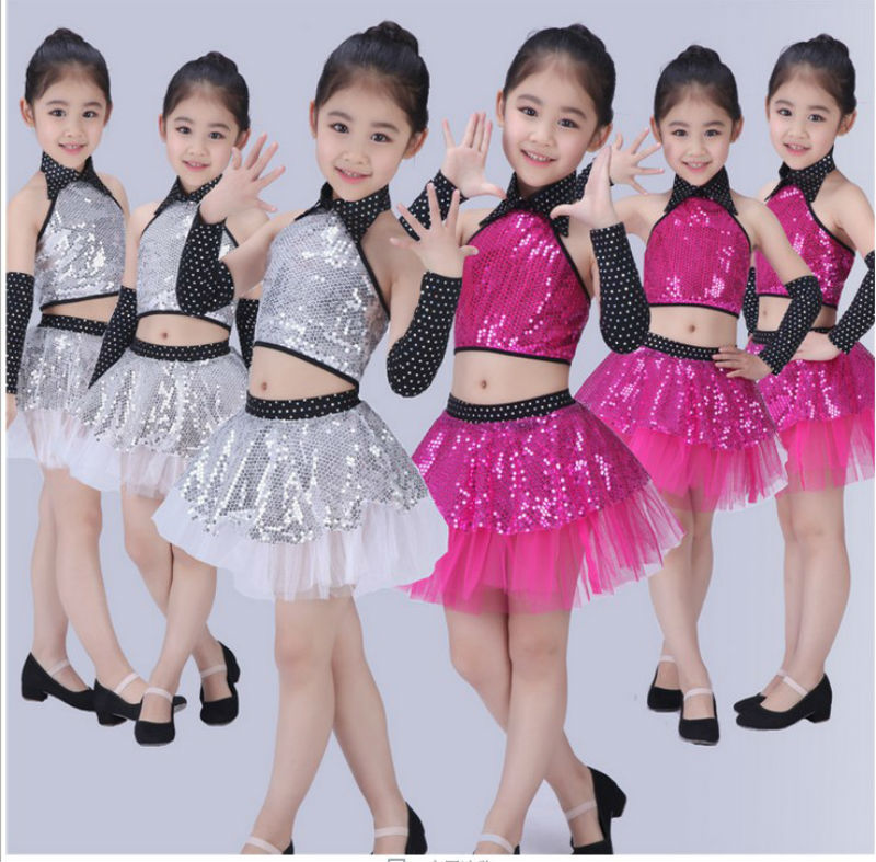 5ed55fcfa Girl Jazz Dance Children Sequin Modern Dance Hip Hop Costumes Girl Stage Jazz  Dance Costumes Suit for Girls Top and Skirt