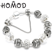 HOMOD Woman Fashion Jewelry Silver Brand Charm Bracelet & Bangles With Clear Crystal Ball Beads for Women