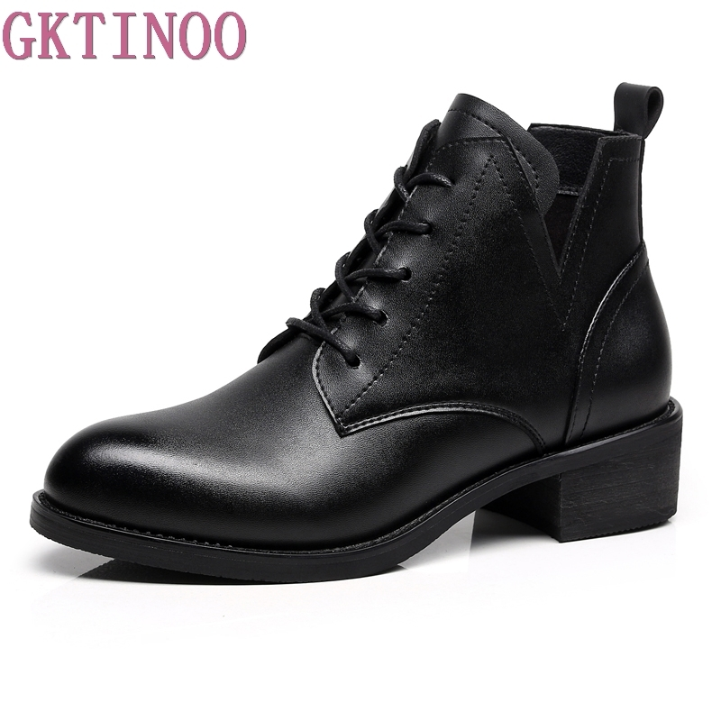 GKTINOO Pointed Toe Ankle boots Shoes Women Leather Lace up Ladies boots Retro Low Heels boots women autumn Chelsea boots Winter retro engraving and lace up design women s sweater boots