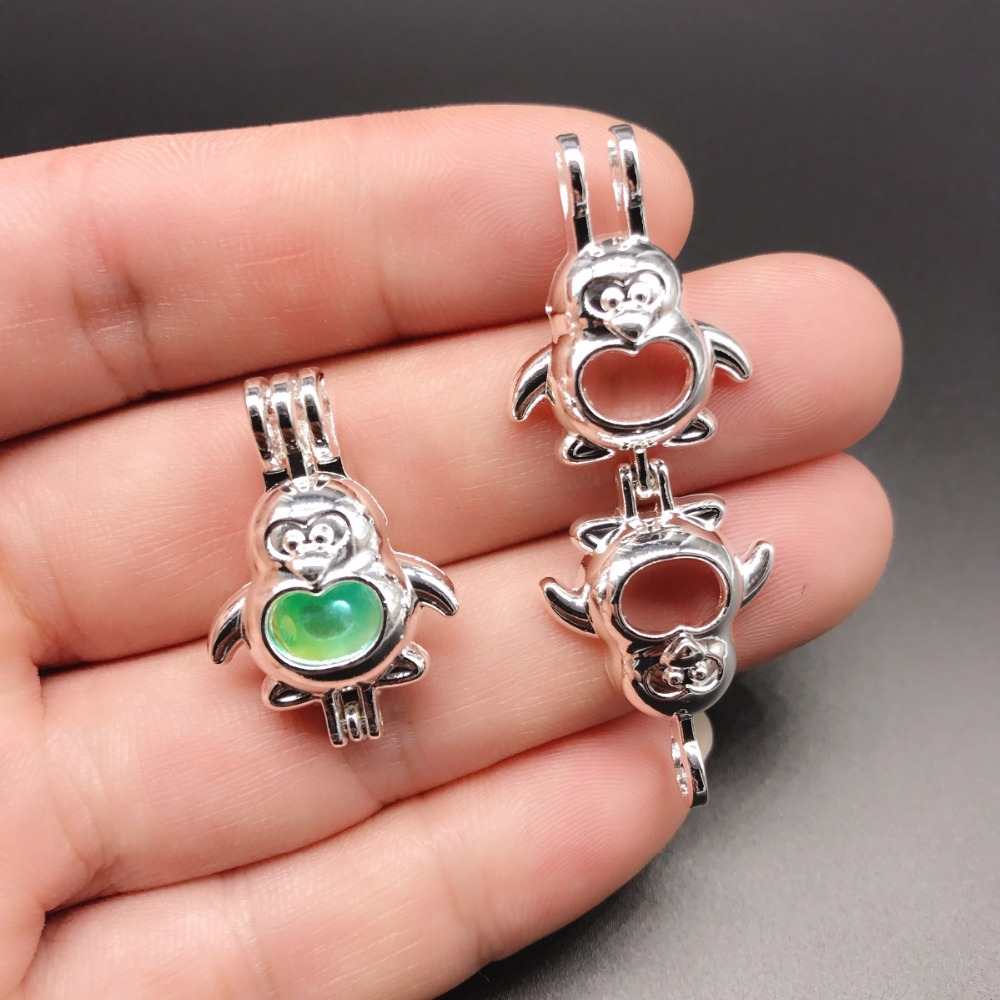 10pcs Silver Cute Penguin Pearl Cage Jewelry Making Supplies Bead Cage Pendant Essential Oil Diffuser Locket For Oyster Pearl