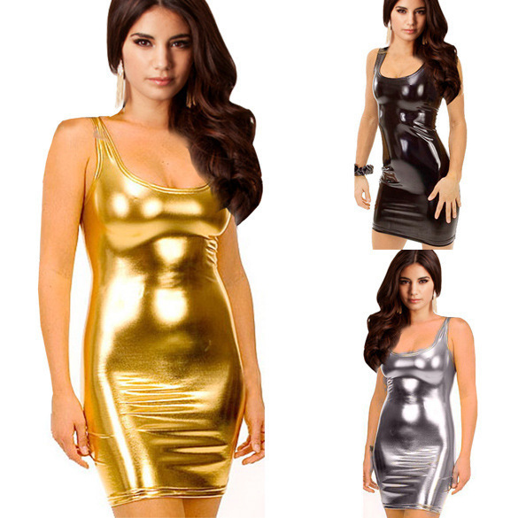 Synthetic Leather Clubwear Mini Summer Bodycon Dress