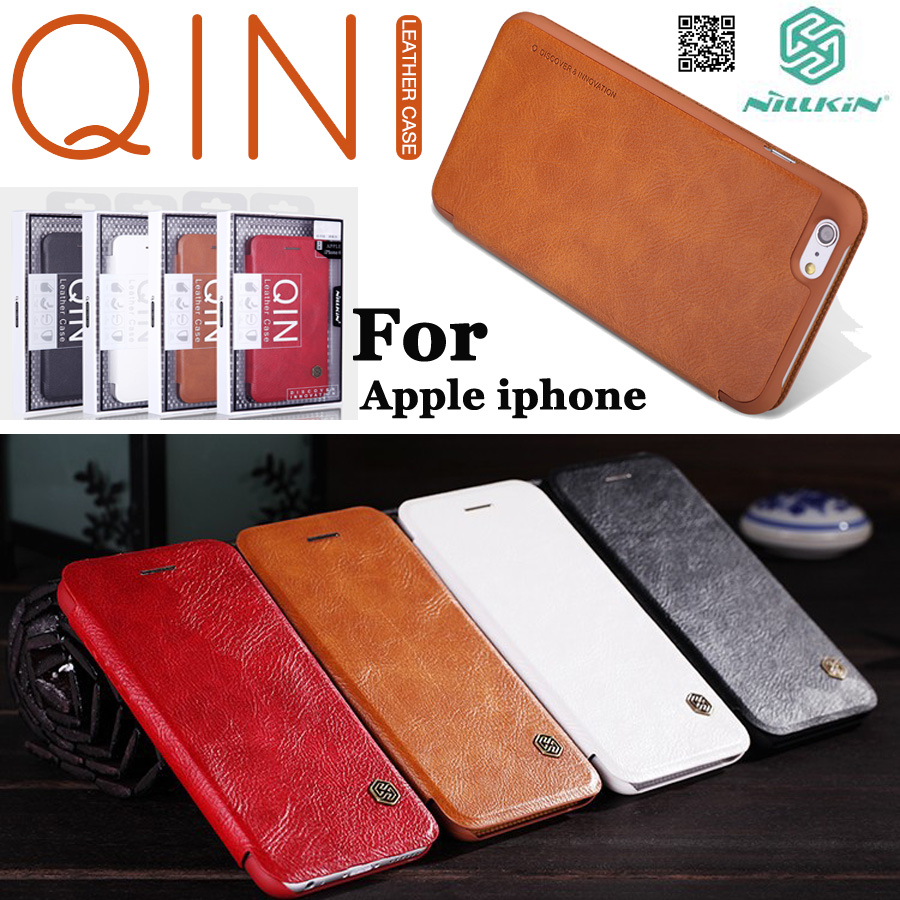 Nillkin For IPhone SE 5S/6s Plus/ 7 8 Plus/X XS/XR/XS Max Leather Flip Case Cover With Original Retail Package Qin Series