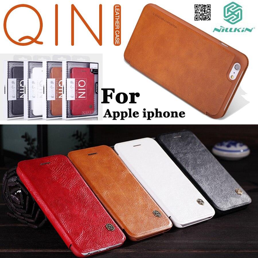 Nillkin Für iPhone SE 5 S/6 s plus/7 8 plus/X XS/XR/ XS Max Leder Flip fall abdeckung mit Original Einzelhandel Paket Qin serie