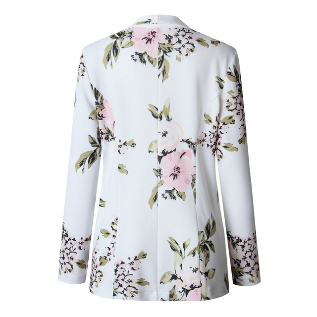 Elegant Blazer Feminino Women Floral Long Sleeve Blazer Notched Collar Coat Female Outerwear  4