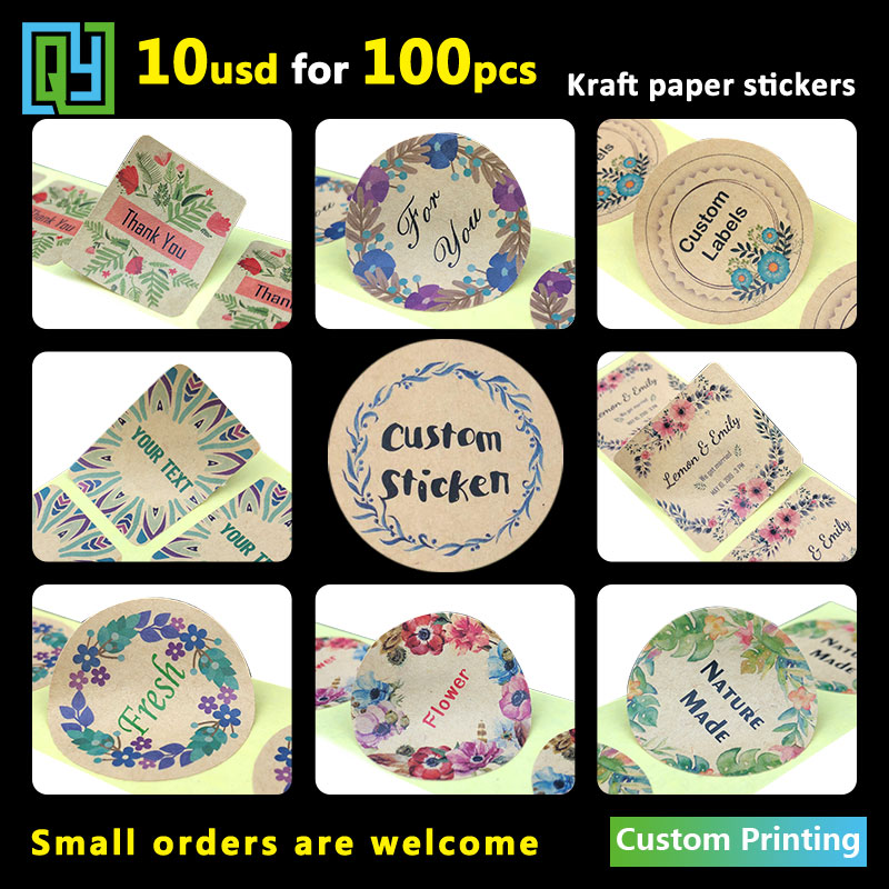 100pcs 35mm Custom Adhesive Kraft Paper Stickers Thank You Hand Made Love Wedding Shower Gift Logo Brand Name Seal Label Sticker