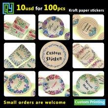 100 pcs 35mm Custom Adhesive Kraft Stickers Dank u handgemaakte Liefde Wedding Shower Gift Logo Merknaam seal Label Sticker