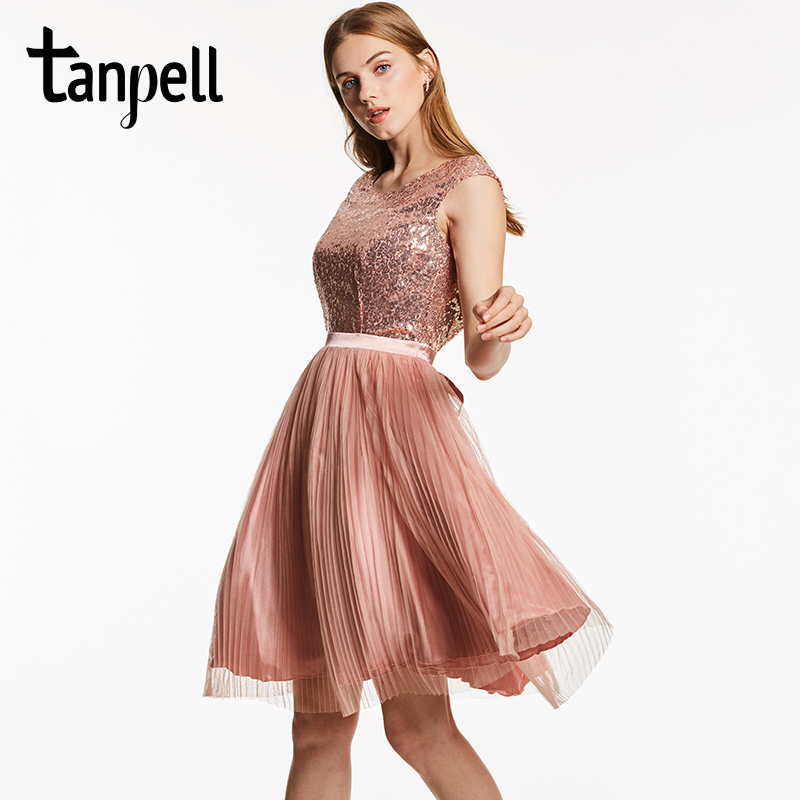 Tanpell scoop backless cocktail dress pink sleeveless knee length a line  gown cheap women sequined pleats short cocktail dresses 9c8ab588502f