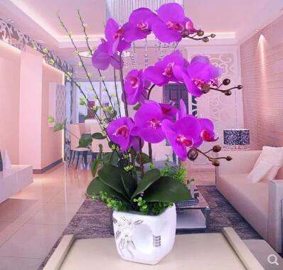 Artificial Flowers Simulation of Phalaenopsis flowers Home Furnishing decorative flower suite living room