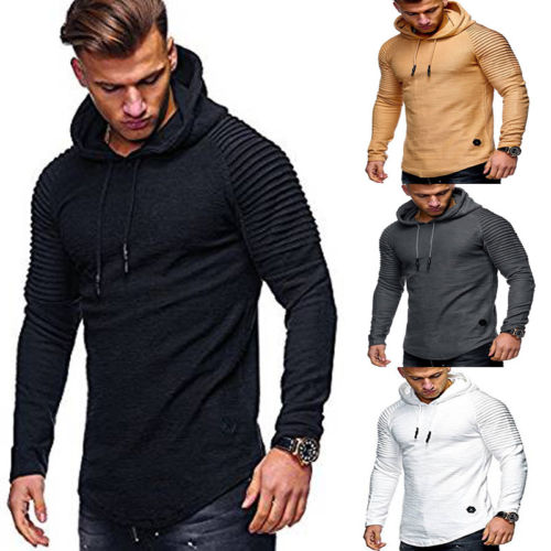 Muscle Mens Long Sleeve Casual Hoodies Sweatshirt Tops Shirts Slim Fit Hooded shirt Hoddies