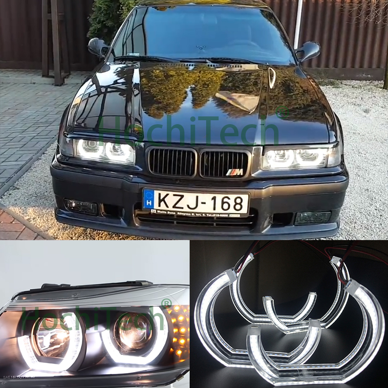 White Crystal DTM Style LED Angel Eyes Halo Rings Light kits for 1996 2000 BMW E36
