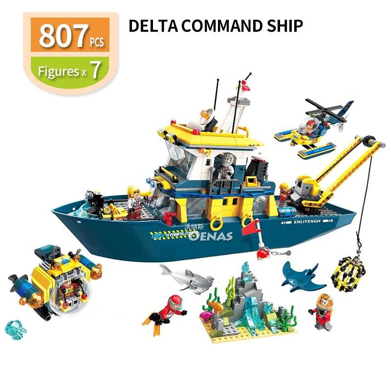 New scientific research ship Delta boat Enlighten compatible Building Brick Blocks education kids DIY toys Children