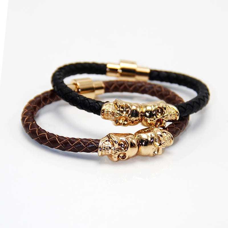 Punk Genuine Skull Leather man Bracelet for Man Women with bags