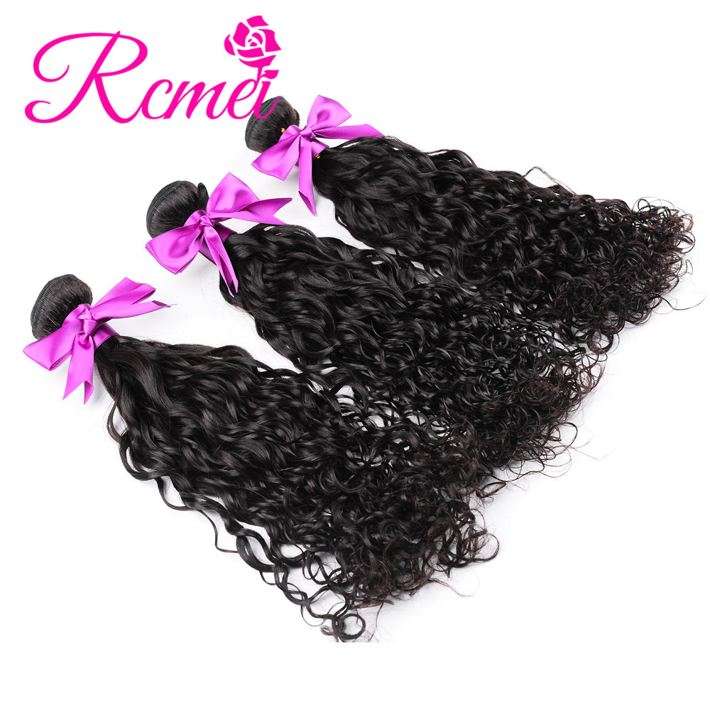 Rcmei Remy Hair Extension Peruvian Water Wave 100% Human Hair Bundles 3 Bundles/LOT Peruvian Hair Weave Bundles Hair Weave Weft