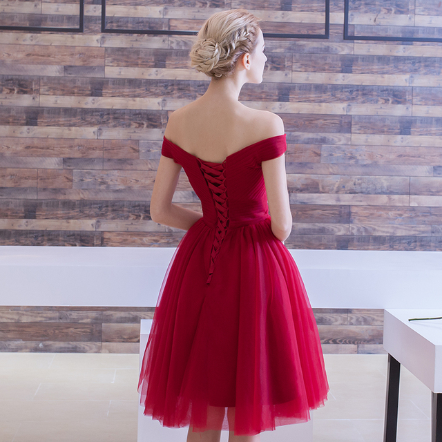 Cocktail Dresses 2018 Pleated Women Formal Prom Party Gown Short Cocktail Dress