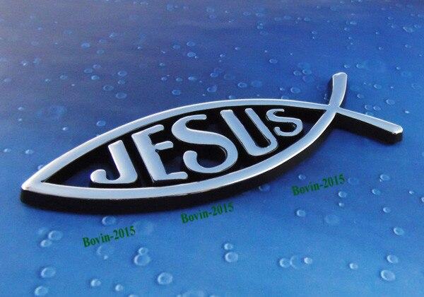 Auto Auto Chrom Schwarz Christliche Fische Jesus Emblem