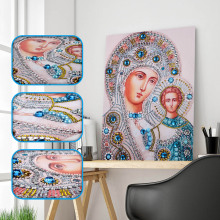5d Diy Special Shaped Diamond Painting Cross Stitch Religion Icon of Mother&Kids Crystal  Diamond Embroidery Rhinestones