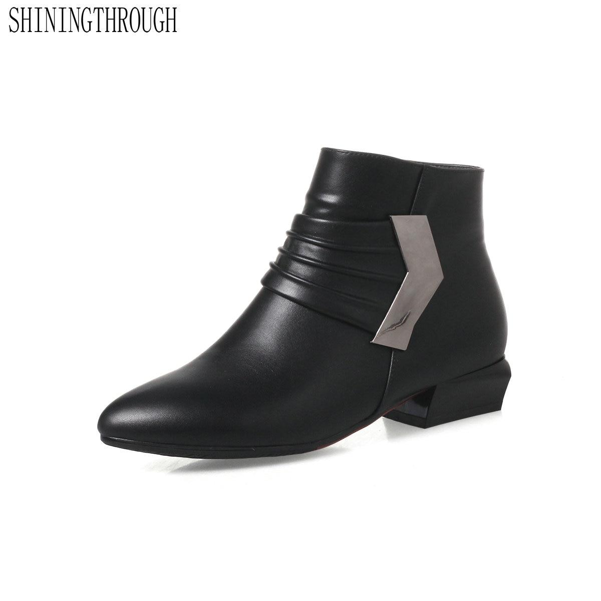 Plate Noir Chaussures forme De Taille 43 Cuir Talon En gris 34 Pu 2018 Bout Bottes Femme Courtes Shiningthrough Épais Cheville Pointu rouge 0mN8vnw