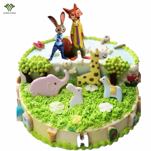 12 PCS Dos Desenhos Animados Anime Zootopia PVC Action Figure Louco animal Modelo de Cidade Picaretas Bolo Topper Brinquedos Presentes de Aniversário Nick & Judy 4-7 cm