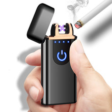 New Double Arc Lighter Windproof Electronic Touch Screen Rechargeable Metal USB Smoking Dual Fire encendedor