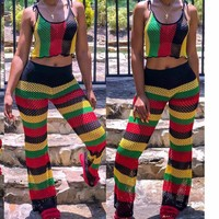 Fashion Stripe Sleeveless sexy transparent mesh rainbow striped streetwear two piece set see through two piece set top and pants