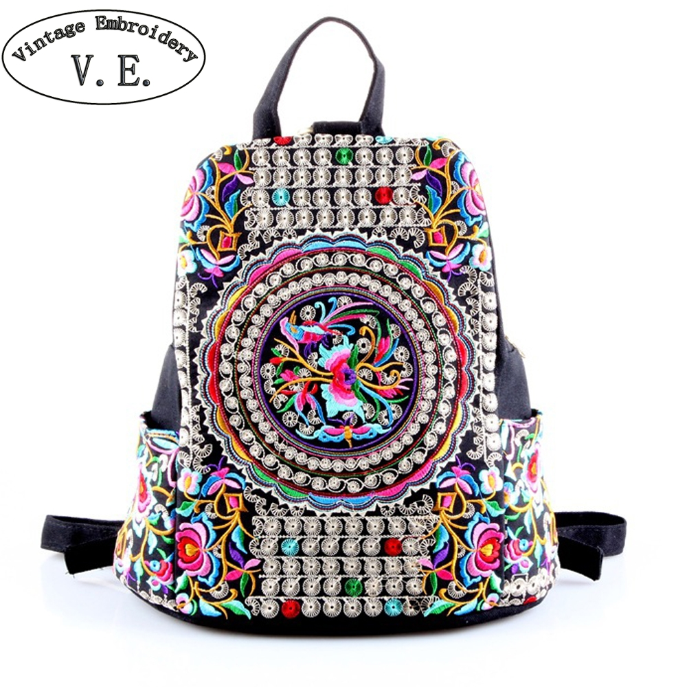 Vintage Embroidery Women Ethnic Canvas Backpack Ladies Handmade Flower Embroidered Travel Bag Schoolbag Backpacks Mochila