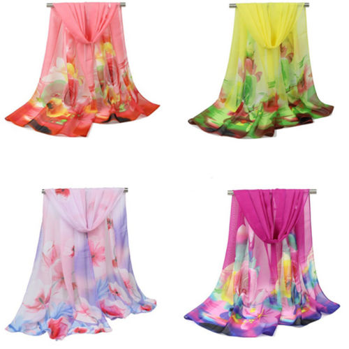 Women Rose Floral Flower Print Chiffon Soft Neck Shawl Scarf Scarf Beach Towel pink floral towels