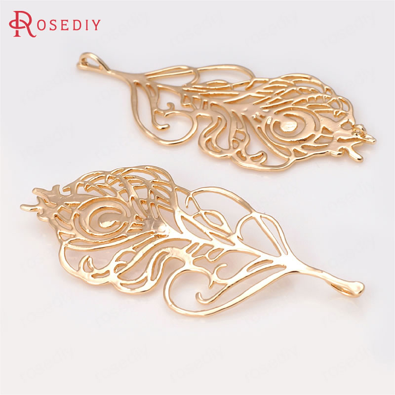 (31879)2PCS 64*28MM 24K Champagne Gold Color Brass Big Peacock Feather Pendants Diy Jewelry Findings Accessories wholesale